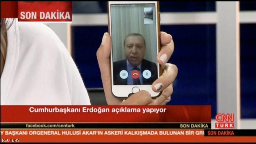Still frame taken from video shows Turkey's President Tayyip Erdogan speaking via a Facetime video connection to address the nation during an attempted coup, in Marmais, Turkey, on July 16, 2016. CNN TURK/ via REUTERS TV ATTENTION EDITORS - THIS IMAGE WAS PROVIDED BY A THIRD PARTY. EDITORIAL USE ONLY. NO RESALES. NO ARCHIVES. TURKEY OUT. NO COMMERCIAL OR EDITORIAL SALES IN TURKEY. TPX IMAGES OF THE DAY