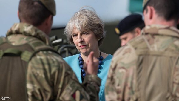 SALISBURY, ENGLAND - SEPTEMBER 29:  Prime Minister Theresa May greets troops as she visits 1st Battalion The Mercian Regiment (Cheshire, Worcesters and Foresters, and Staffords) at their barracks at Bulford Camp on September 29, 2016 near Salisbury, England.  The Prime Minister visited the military base in the Salisbury Plain area to meet with soldiers, see the equipment they work with and to also meet with some their families.  (Photo by Matt Cardy - WPA Pool/Getty Images)