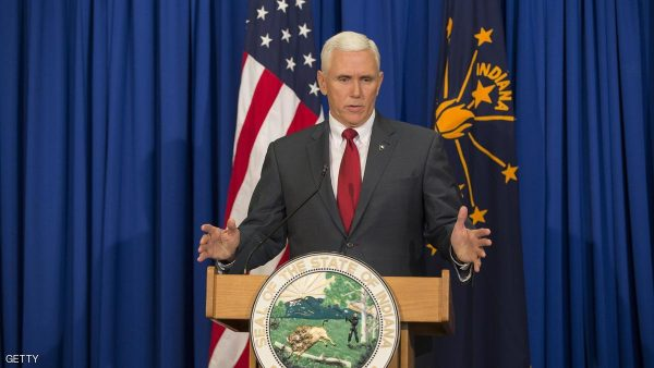 INDIANAPOLIS, IN - MARCH 31: Governor Mike Pence of Indiana holds a press conference March 31, 2015 at the Indiana State Library in Indianapolis, Indiana. Pence spoke about the state's controversial Religious Freedom Restoration Act which has been condemned by business leaders and Democrats.  (Photo by Aaron P. Bernstein/Getty Images)
