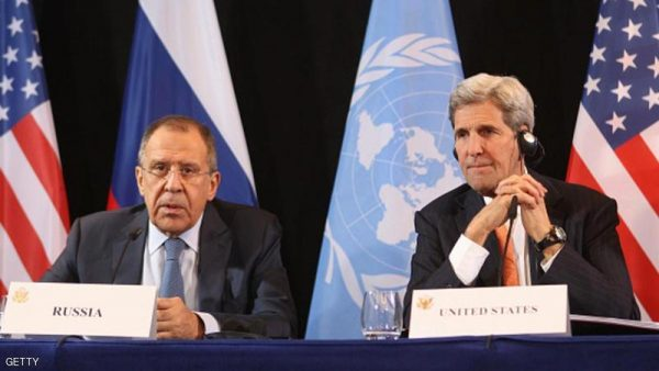 MUNICH, GERMANY - FEBRUARY 11:  US Secretary of State John Kerry (R) listens to Russian Foreign Minister Sergey Lavrov during a press conference following a meeting of the International Syrian Support Group (ISSG) on February 11, 2016 in Munich, Germany. ISSG met in Munich ahead of the International Munich Security Conference to further discuss a peaceful solution in the Syria war.  (Photo by Alexandra Beier/Getty Images)