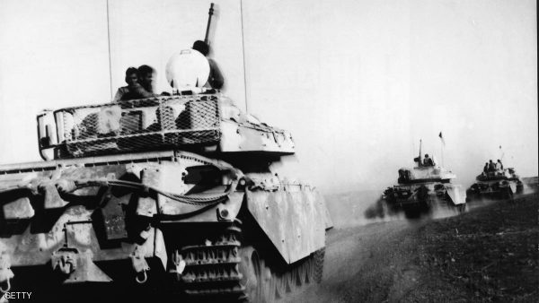 British-built Jordanian Centurion tanks arrive in the Golan Heights to support the Syrians during the Yom Kippur War, October 21, 1973. (Photo by Hulton Archive/Getty Images)