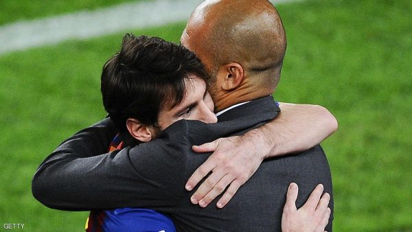 BARCELONA, SPAIN - MAY 05:  Lionel Messi of FC Barcelona (L) hugs his Head coach Josep Guardiola of FC Barcelona after scoring his team's third goal during the La Liga match between FC Barcelona and RCD Espanyol at Camp Nou on May 5, 2012 in Barcelona, Spain. This was Guardiola's last match.  (Photo by David Ramos/Getty Images)